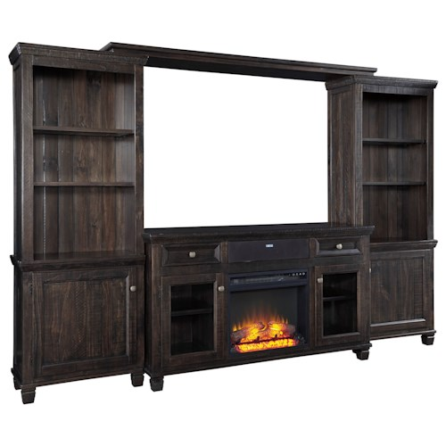 Signature Design by Ashley Townser Entertainment Center w/ Fireplace Insert & Small Bluetooth Speaker