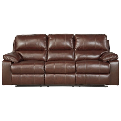 Signature Design by Ashley Transister Leather Match Power Reclining Sofa w/ Adjustable Headrest
