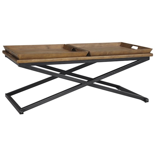Signature Design by Ashley Traxmore Metal/Pine Rectangular Cocktail Table with 2 Removable Trays