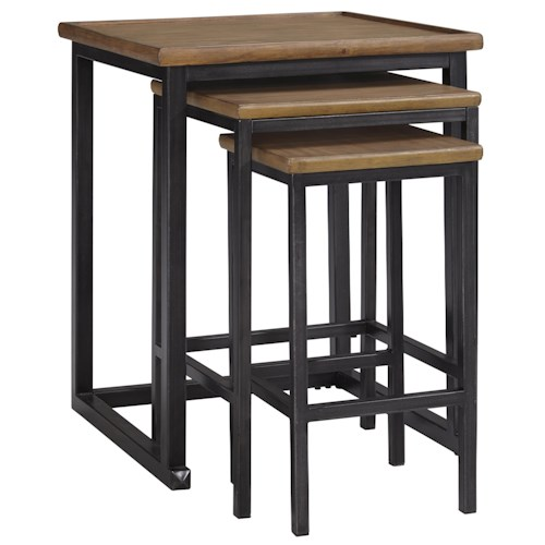 Signature Design by Ashley Traxmore Set of 3 Nesting End Tables with Metal Base and Pine Wood Tops