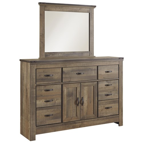 Signature Design by Ashley Trinell Rustic Look Dresser with Doors & Mirror
