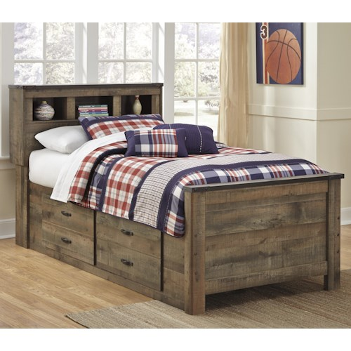 Signature Design by Ashley Trinell Rustic Look Twin Bookcase Bed with Under Bed Storage