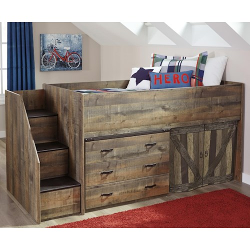 Signature design by ashley trinell loft bed with stairs and drawer storage wayside furniture - Loft bed with drawer stairs ...