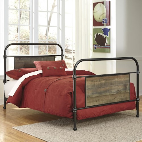 Signature Design by Ashley Trinell Full Metal Bed with Reclaimed Wood Look Rustic Finish Panels