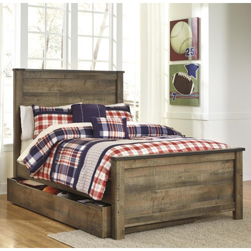 Signature Design by Ashley Trinell Rustic Look Full Panel Bed with Under Bed Storage/Trundle