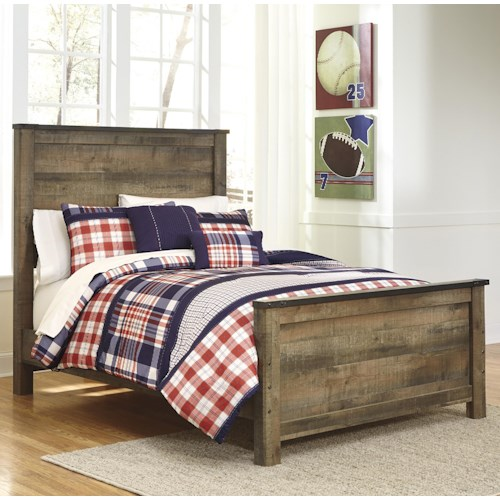 Signature Design by Ashley Trinell Rustic Look Full Panel Bed