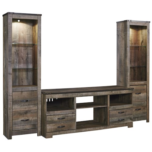 Signature Design by Ashley Trinell Rustic Large TV Stand & 2 Tall Piers