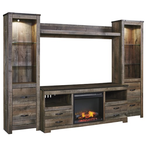 Signature Design by Ashley Trinell Rustic Large TV Stand w/ Fireplace Insert, 2 Tall Piers, & Bridge