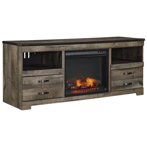Signature Design by Ashley Trinell Rustic Large TV Stand with Fireplace Insert