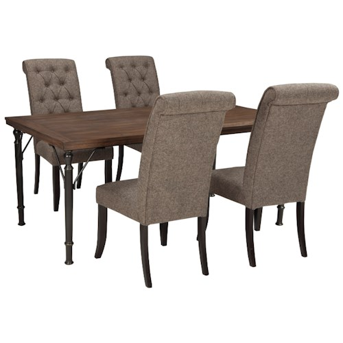 Signature Design by Ashley Tripton 5-Piece Rectangular Dining Room Table Set w/ Wood Top & Metal Legs