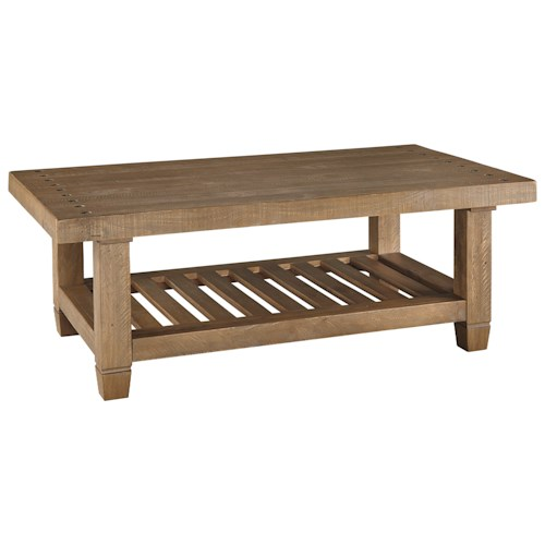 Signature Design by Ashley Trishley Solid Pine Rectangular Cocktail Table with Slat Shelf