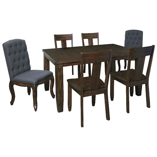 Signature Design by Ashley Trudell 7-Piece Rectangular Dining Table Set with Upholstered Chairs & Wood Seat Chairs