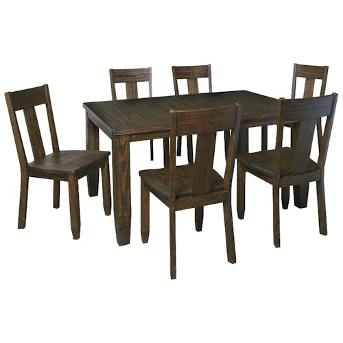 Signature Design by Ashley Trudell 7-Piece Rectangular Dining Table Set with Wood Seat Chairs
