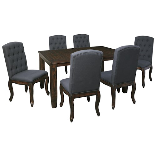 Signature Design by Ashley Trudell 7-Piece Rectangular Dining Table Set with Upholstered Side Chairs
