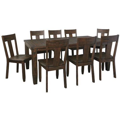 Signature Design by Ashley Trudell 9-Piece Rectangular Dining Table Set with Wood Seat Chairs