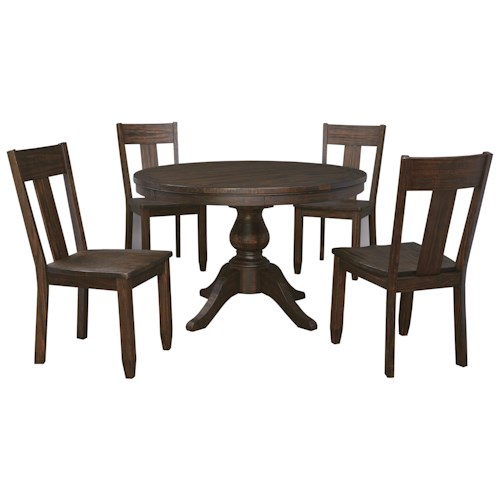 Signature Design by Ashley Trudell 5-Piece Round Dining Table Set with Wood Seat Side Chairs