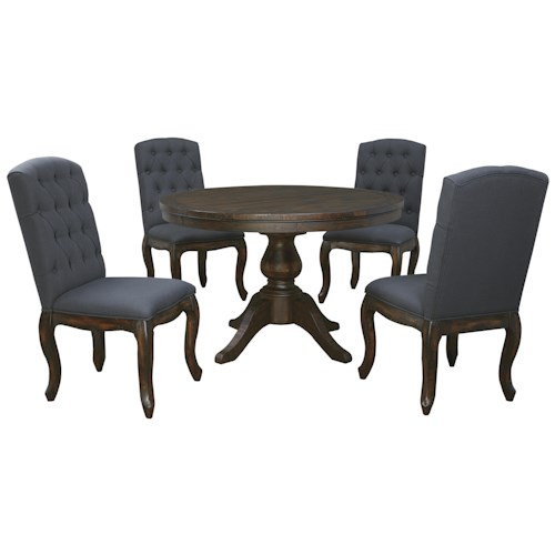 Signature Design by Ashley Trudell 5-Piece Round Dining Table Set with Upholstered Side Chairs