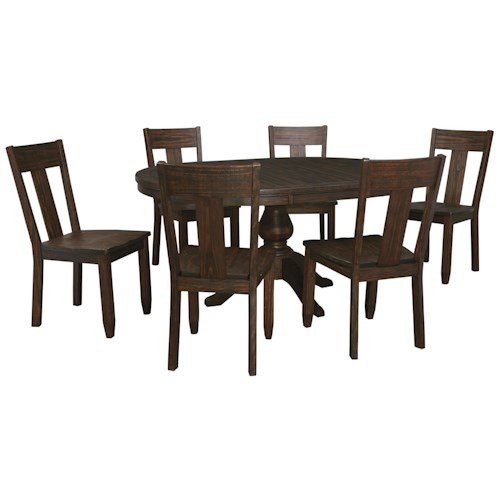 Signature Design by Ashley Trudell 7-Piece Oval Dining Table Set with Wood Seat Side Chairs