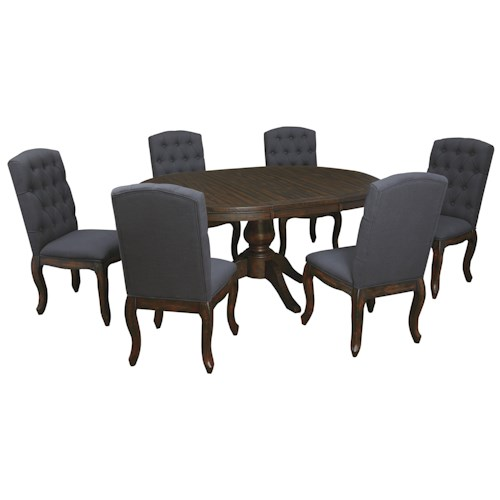 Signature Design by Ashley Trudell 7-Piece Oval Dining Table Set with Upholstered Side Chairs