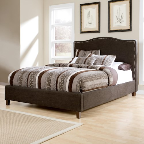 Signature Design by Ashley Kasidon Queen Upholstered Bed with Brown Woven Fabric, Arched Headboard, & Nailhead Trim