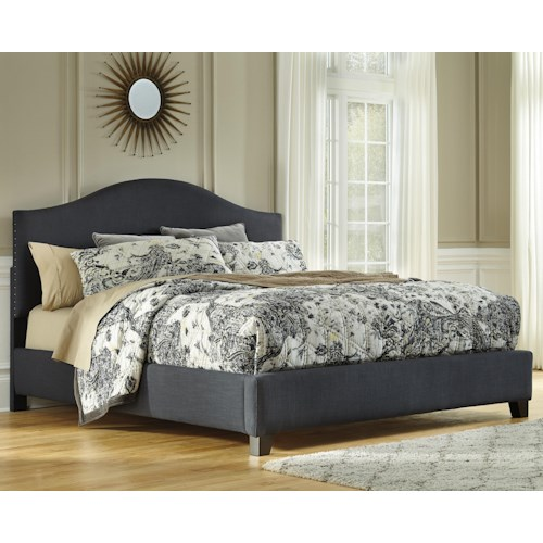 Signature Design by Ashley Kasidon California King Upholstered Bed in Dark Gray with Arched Shape & Nailhead Trim