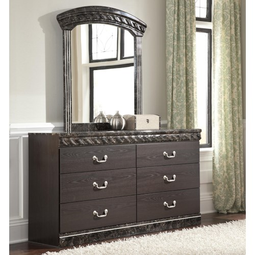Signature Design by Ashley Vachel Traditional Dresser & Bedroom Mirror with Faux Marble Trim