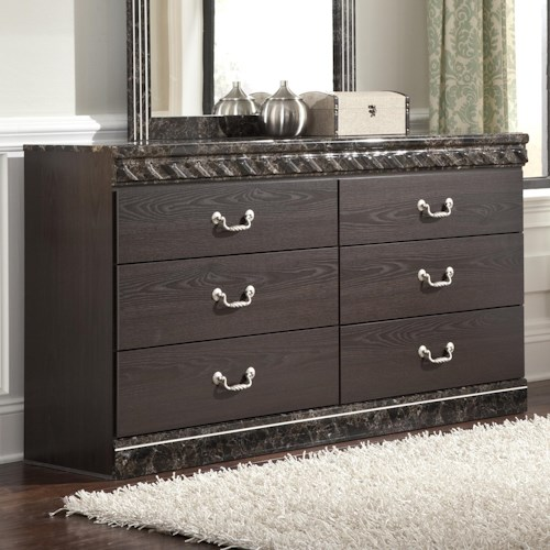 Signature Design by Ashley Vachel Traditional 6-Drawer Dresser with Faux Marble Trim
