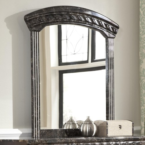 Signature Design by Ashley Vachel Arched Bedroom Mirror with Faux Marble Trim