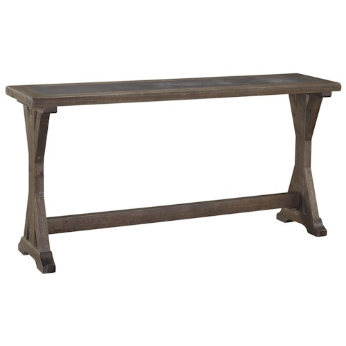 Signature Design by Ashley Valkner Rustic Sofa Table with Trestle Base & Insert Top
