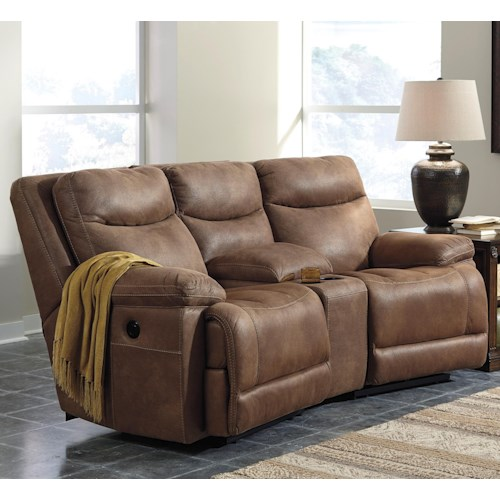 Signature Design by Ashley Valto Power Reclining Sofa with Angled Storage Console