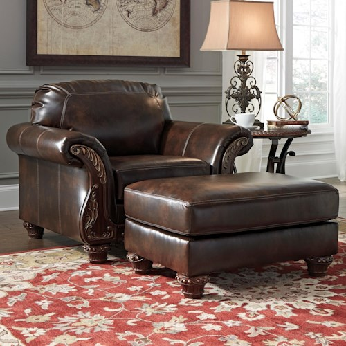 Signature Design by Ashley Vanceton Traditional Chair & Ottoman