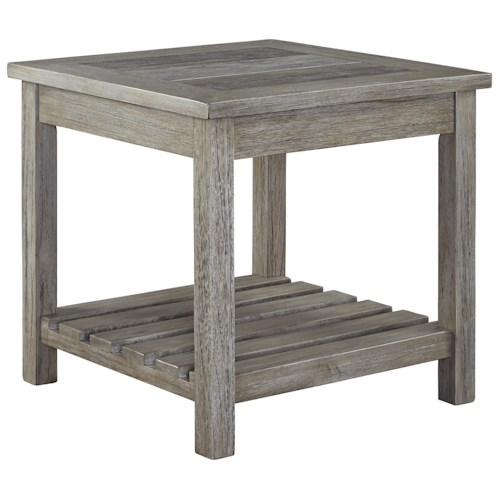 Signature Design by Ashley Veldar Square End Table with Ceramic Tile Top and Slat Shelf