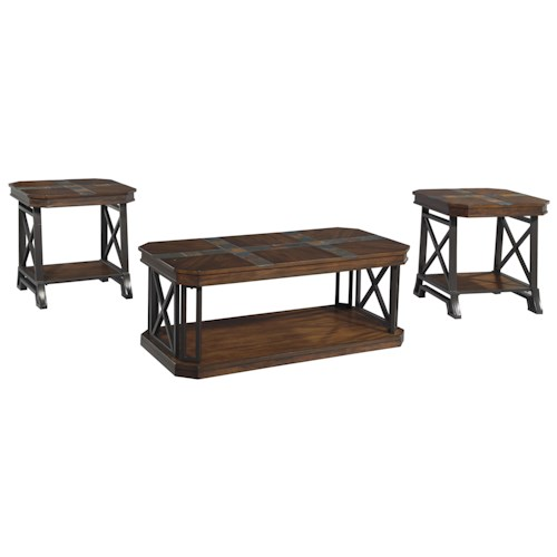 Signature Design by Ashley Vinasville Vintage Casual Occasional Table Set with Slate Tile Inlay