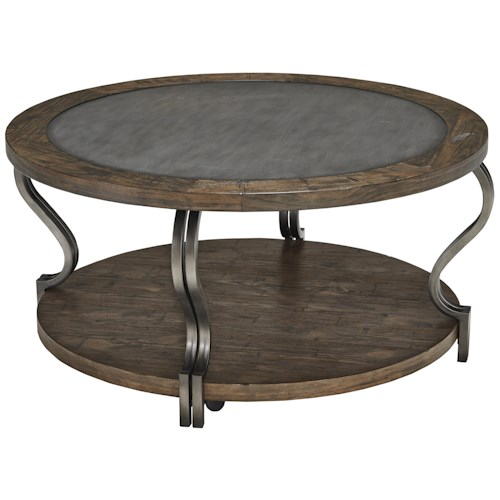 Signature Design by Ashley Volanta Round Cocktail Table with Inset Metal Top & Casters