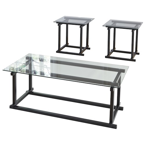 Signature Design by Ashley Vonarri Contemporary Occasional Table Set with Clear Glass Tops