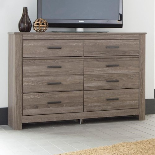 Signature Design By Ashley Waldrew 6 Drawer Dresser In Gray Finish Value City Furniture Dressers