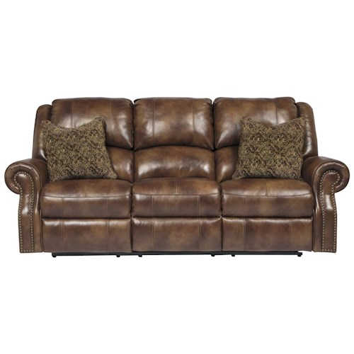 Signature Design by Ashley Walworth Leather Match Reclining Sofa with Nailhead Trim