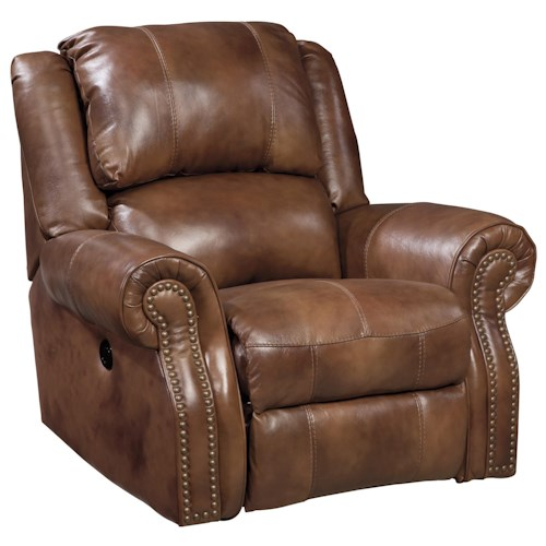 Signature Design by Ashley Walworth Leather Match Power Rocker Recliner with Nailhead Trim