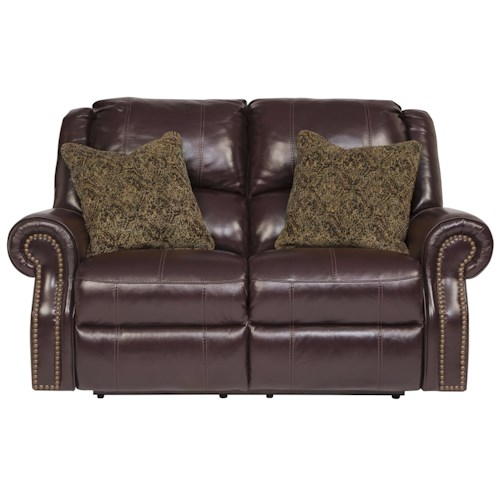 Signature Design by Ashley Walworth Leather Match Reclining Power Loveseat with Nailhead Trim