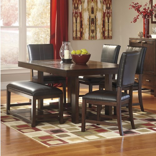 Signature Design by Ashley Watson  Contemporary 6 Piece Dining Table Set with Bench