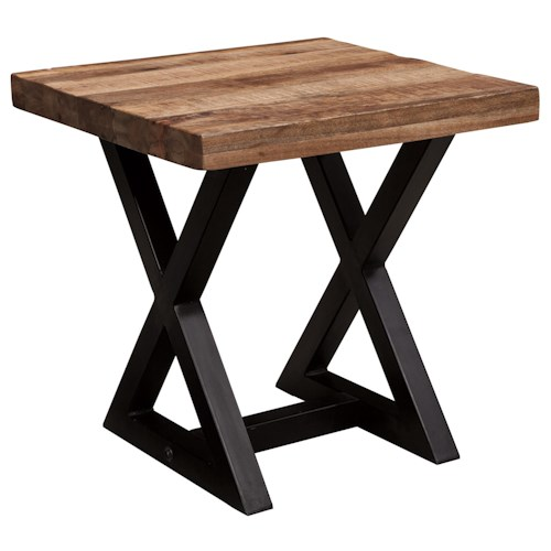 Signature Design by Ashley Weslin Square End Table with Mango Wood Top & Metal X-Braced Base