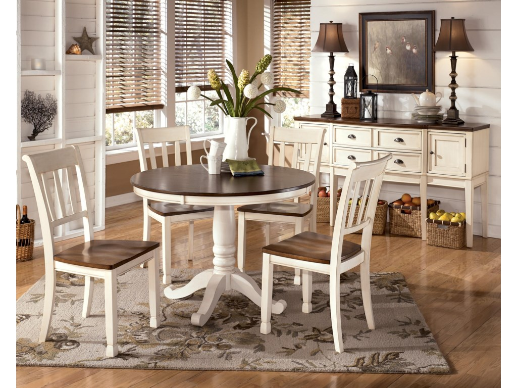 4 Chairs Shown with Pedestal Table and Server