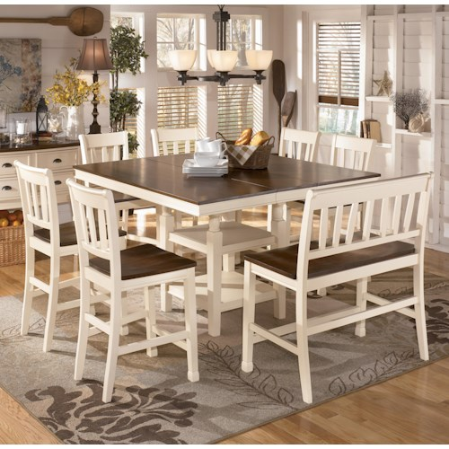 Signature Design by Ashley Whitesburg 8-Piece Square Counter Extension Table Set with Double Barstool