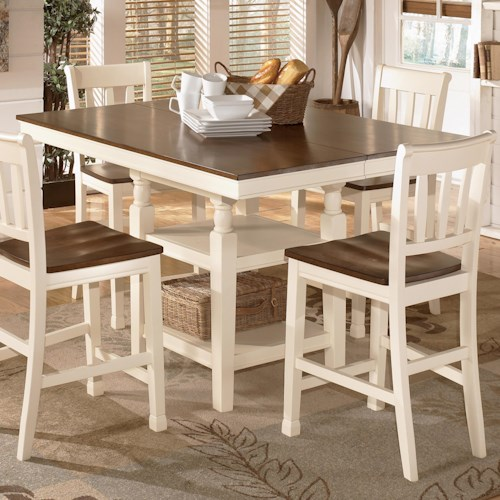 Signature Design by Ashley Whitesburg Square Dining Room Counter Extension Table with Storage
