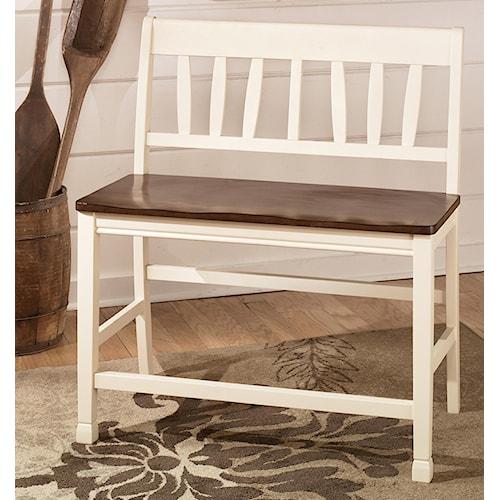 Signature Design by Ashley Whitesburg Two-Tone Double Barstool with Slat Back