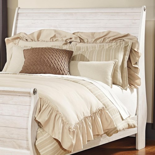 Signature Design by Ashley Willowton Queen Sleigh Headboard in Washed White Finish