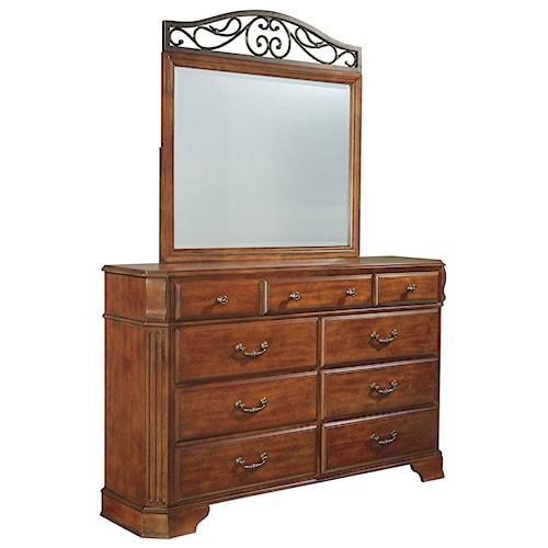 Signature Design by Ashley Wyatt Nine Drawer Dresser and Picture Frame Mirror