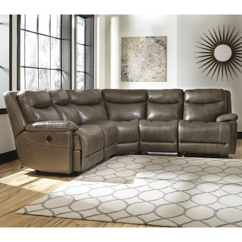 Signature Design by Ashley Zaiden Contemporary Leather Match Reclining Sectional