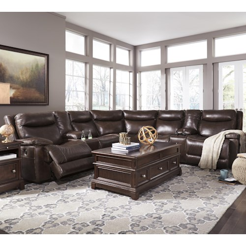 Signature Design by Ashley Zaiden Contemporary Power Reclining Sectional with 2 Consoles