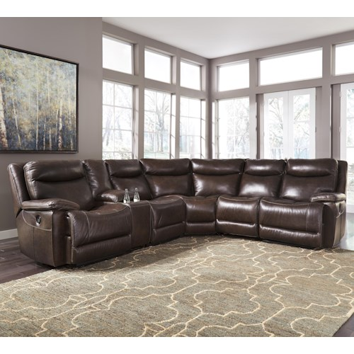 Signature Design by Ashley Zaiden Contemporary Leather Match Power Reclining Sectional with Console